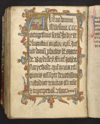 Illuminated Initial And Border, In The Prayerbook Of John Northewode f.182v
